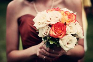 Maid of Honor with Bouquet of Flowers